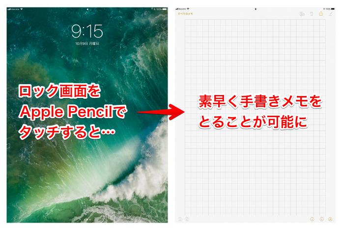 iPadとApple Pencilを使用したインスタントメモの起動方法